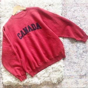 Vintage | Red Canada Print Oversized Sweatshirt L